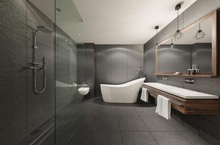 Aranżacja łazienkowa, Klient: SOPRO